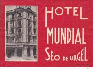 Spain Seo De Urgek Hotel Mundial Vintage Luggage Label sk4505