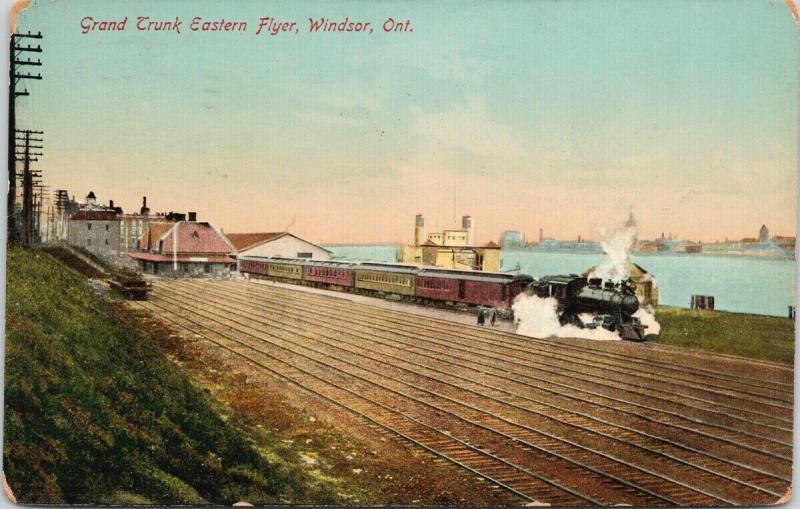 Grant Trunk Eastern Flyer Windsor Ontario ON Train Railway c1914 Postcard D86