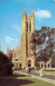 Durham North Carolina~Duke University Chapel~1940s Cars~Pedestrians~Postcard