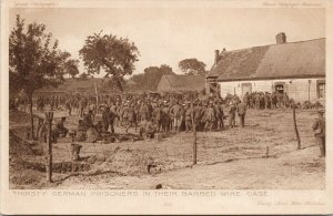 Thirsty German Prisoners in Barbed Wire Cage Unused Daily Mail Postcard F43