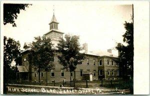 1910s JERSEY SHORE, Pennsylvania RPPC Photo Postcard HIGH SCHOOL BLDG. Unused
