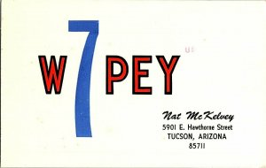 QSL Radio Card From Tucson Arizona W7PEY