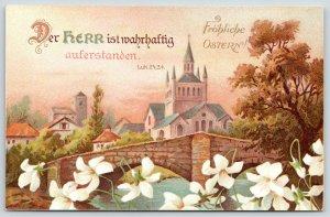Easter~White Flowers by Village Bridge~Castle~Bible Verse~Luke 24:34~Germany