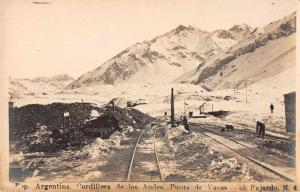 Punta de Vacas Argentina railroad tracks Andes Mtns real photo pc Z41358