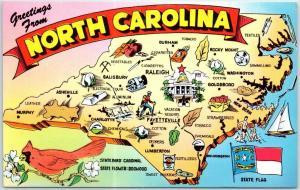 NORTH CAROLINA State Map Big Letter Postcard Asheville PC CHROME c1960s