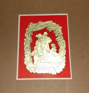 Vtg Christmas Card Embossed Gold Foil Victorian Carolers Family Man Woman #139