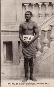 Native Giant Geant Senegalain Senegal Dakar Africa Tall Man Postcard E32