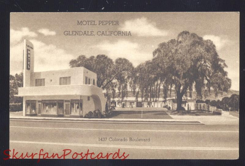 GLENDALE CALIFORNIA ROUTE 66 MOTEL PEPPER B&W VINTAGE