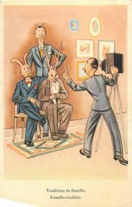 Comic family traditions horned caricatures men camera humour postcard
