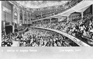RPPC ANGELUS TEMPLE Los Angeles, CA Interior View ca 1950s Vintage Postcard