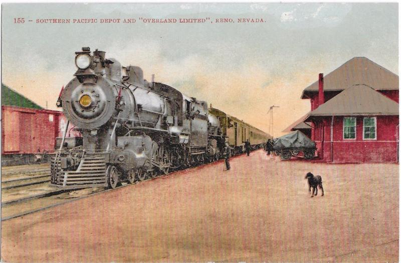 Southern Pacific Depot & Overland Limited, Reno Nevada c1910 NV Postcard