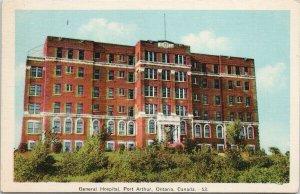 Port Arthur Ontario General Hospital Unused PECO Postcard F64