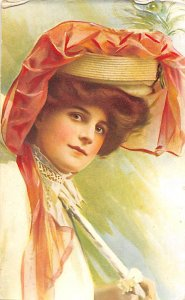 Woman with hat Glamour Non Postcard Backing
