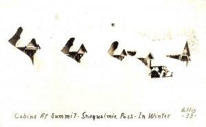 RPPC Cabins at Summit Snoqualmie Pass WA Winter Ellis 33 c1940s Vintage Postcard