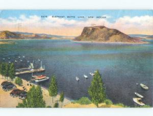 Linen OLD CARS PARKED BY SMALL BOATS Elephant Butte - Near Las Cruces NM d8141