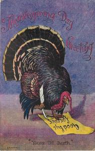 E R Tyrrell~Fantasy Thanksgiving~Turkey Signs: Yours Till Death~Goodbye Forever