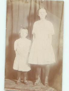 rppc Pre-1920's Fashion GIRL AND BOY BOTH WEARING BUTTON SHOES AC8363