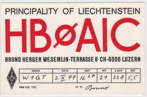 QSL, HB0AIC, Liechtenstein, 1977