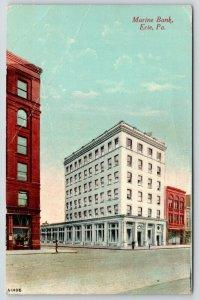Erie Pennsylvania~Marine Bank Corner View from Across Street~1913 Postcard