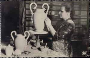 france, VALLAURIS, Pottery Poterie, Vase (1950s) RPPC