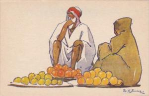 North Africa Local Fruit Sellers Signed Sandoz