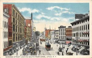 Utica New York~Genesee Street South~Large Crowd-Trolley-Cars~1920s Postcard