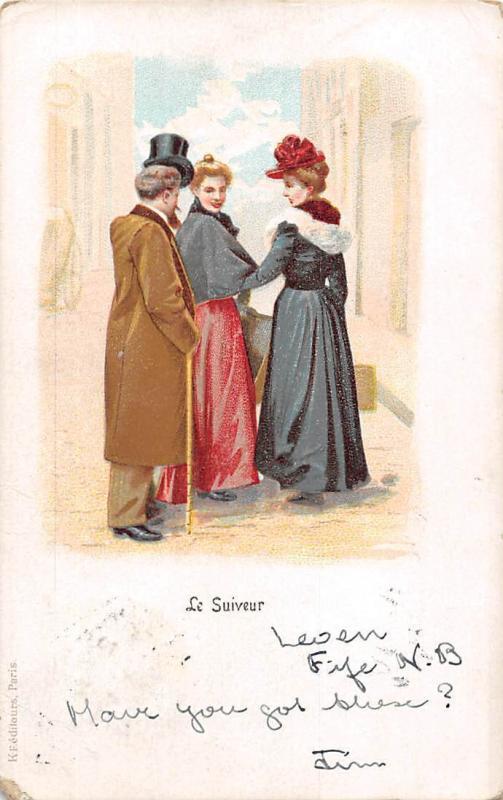 Fantasy, Le Suiveur Elegant Man, Ladies, fancy vintage clothing 1903