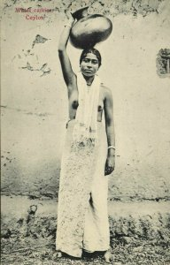 ceylon, Native Nude Woman Water Carrier, Pottery (1910s) Postcard