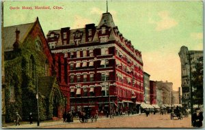 Hartford, Connecticut Postcard GARDE HOTEL Street Scene 1912 CT Cancel