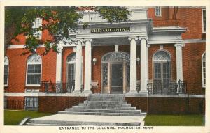 Rochester Minnesota~Colonial Hotel Entrance~Pillars~Lead Glass Door Panels~1916