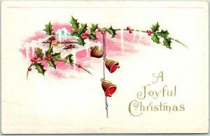 Vintage A JOYFUL CHRISTMAS Greetings Postcard Gold Bells / Holly c1910s