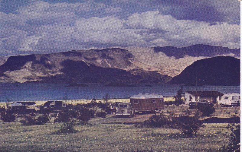 Near BOULDER CITY, Nevada, 1940-60s; Trailer Park, Lake Mead, Classic Cars