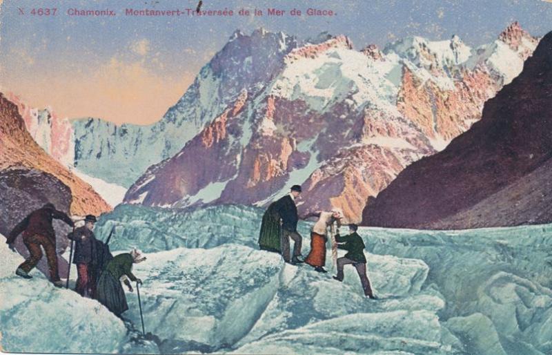 Crossing Glacier near Chamonix, France (Note latest climbing gear) - DB