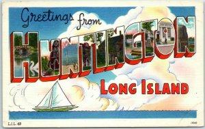 HUNTINGTON Long Island New York Large Letter Postcard Tomlin Art Linen c1940s