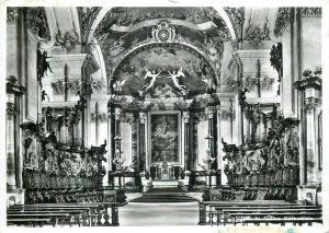 Switzerland St. Gallen cathedral interior photo postcard butterfly stamp