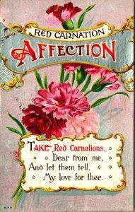 Rot Nelken Zuneigung Nehmen Von Sagen My Liebe Für Thee 1910s Geprägt Postkarte