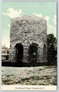 Newport Rhode Island~Round Tower~Arched Openings~Iron Fence~c1910 Postcard