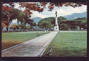 P1590 vintage used postcard war memorial trinidad B.W.I. 2 queen stamps