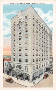 E9/ Lake Charles Louisiana La Postcard 1937 Hotel Charleston Building