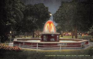 Laredo Texas 1940s Postcard Illuminated Fountain Bruni Plaza