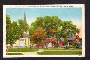 ME First Baptist Church Library Coburn Park Waterville Maine Linen Postcard PC