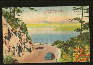Postmarked 1939 The Malahat Drive Victoria BC Linen Postcard