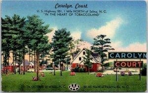 1950s SELMA, North Carolina Postcard CAROLYN COURT Highway 301 Roadside Motel