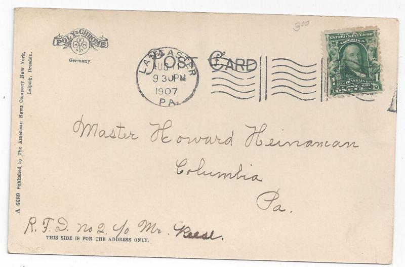 Lancaster PA General Hospital 1907 American News Co Postcard