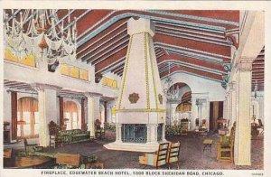 Illinois Chicago Edgewater Beach Hotel Fireplace Curteich