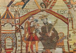 Postcard Bayeux Tapestry, King Edward the Confessor instructs Harold #636