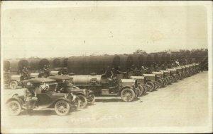 Motor Truck CO Army Trucks Cars Camp Upton Long Island NY Written on Back RPPC