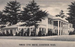 Town Lyne House, Lynnfield, Massachusetts, Early Linen Postcard, unused