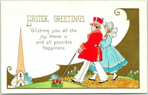 Vintage EASTER GREETINGS Postcard Church / Couple in Fine Clothes / Bonnet 1944