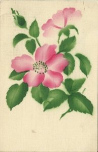 Vintage Postcard decorated with Pink Country Rose that is Stenciled and Airbrush
